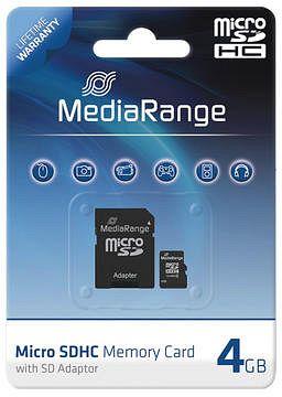 MediaRange microSDHC 4GB Kit, Class 4 (MR951)