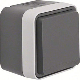 Berker W.1 socket SCHUKO with hinged cover, grey/light grey matte (47403515)
