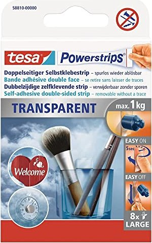 tesa Powerstrips adhesive strip Strips transparent large, 1kg resilience, 8 pieces (58810)