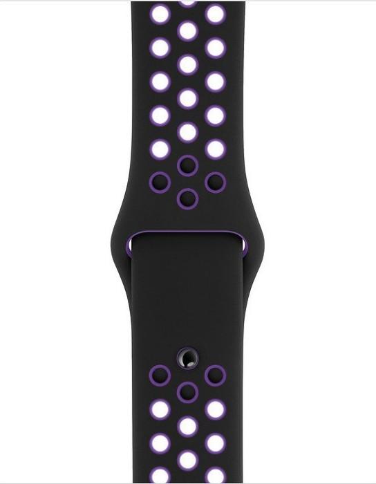 Apple Nike Sportarmband S/M und M/L für Apple Watch 40mm schwarz/hyper grape (MV7Y2ZM/A)