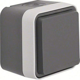 Berker W.1 socket SCHUKO with hinged cover, grey/light grey matte (47633505)