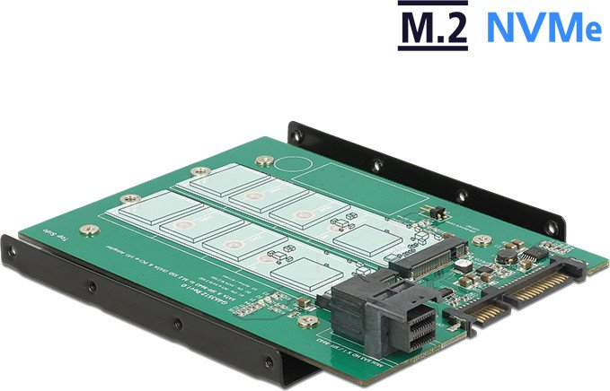 "DeLOCK 3.5"" Converter SATA 22 pin / SFF-8643 NVMe > 1 x M.2 Key M + 1 x M.2 Key B (62704)"