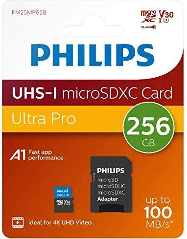 Philips microSDXC R100 256GB Kit, UHS-I U3, A1, Class 10 (FM25MP65B) -- via Amazon Partnerprogramm
