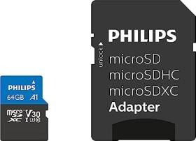 Philips microSDXC R100 64GB Kit, UHS-I U3, A1, Class 10 (FM64MP65B)