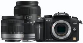 Panasonic Lumix DMC-G2 blau mit Objektiv Lumix G Vario 14-42mm OIS und 45-200mm OIS (DMC-G2W)