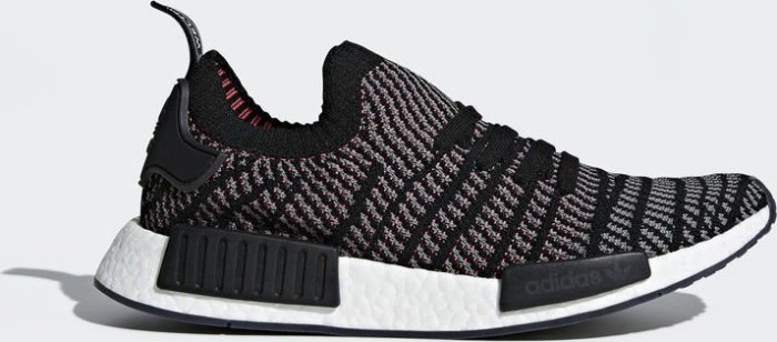 80c6774725716 adidas NMD R1 STLT Primeknit core black grey four solar pink (men ...