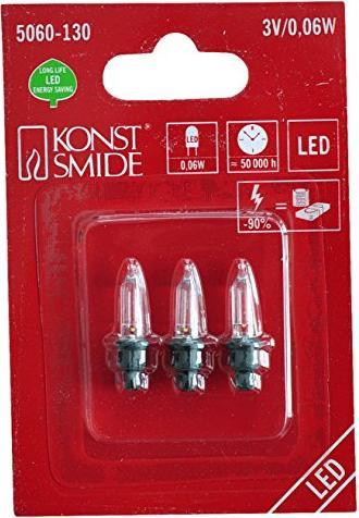 Konstsmide Weihnachtsbeleuchtung.Konstsmide Led Ersatzbirne Für Weihnachtsbeleuchtung Klar 3v 0 06w 3er Pack 5060 130
