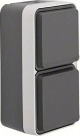 Berker W.1 socket SCHUKO 2-way vertical with hinged cover, grey/light grey (47703525)
