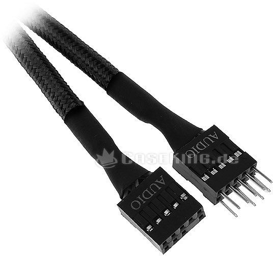 BitFenix Alchemy interne Audio-Verlängerung 30cm, sleeved schwarz (BFA-MSC-AUD30KK-RP) -- © caseking.de