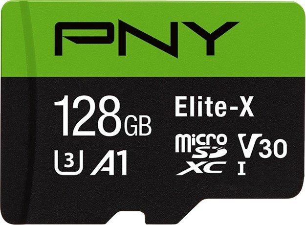 PNY Elite-X R100 microSDXC 128GB Kit, UHS-I U3, A1, Class 10 (P-SDU128U3100EX-GE)