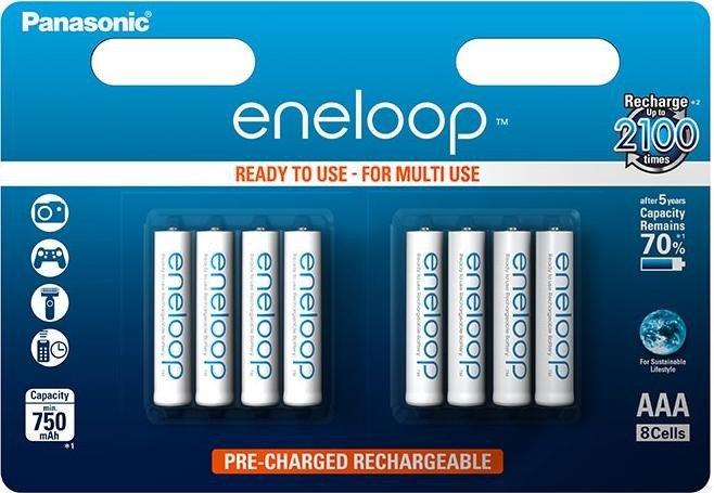 Panasonic eneloop Micro AAA NiMH 750mAh, 8-pack (BK-4MCCE/8BE)