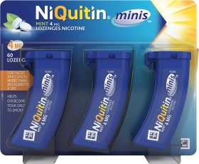 NiQuitin mini 4mg lozenges, 60 pieces (3x 20 pieces)