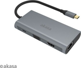 Akasa 9-in-1 Dock, USB-Hub, Dual-Slot-Cardreader, USB-C 3.0 [Stecker] (AK-CBCA21-18BK)