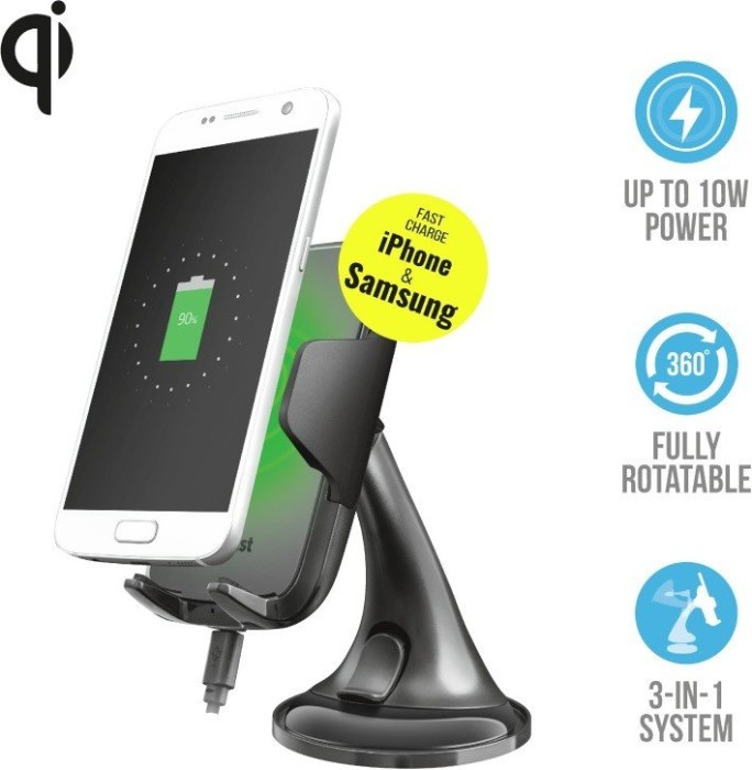 Trust YUDO10 Wireless Fast-charging Car Phone Holder (23133)