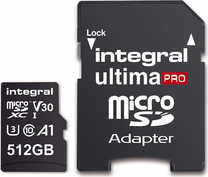 Integral Premium High Speed R100/W80 microSDXC 512GB Kit, UHS-I U3, A1, Class 10 (INMSDX512G-100/80V30)