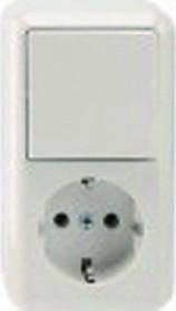 Merten Aufputz Kombination SCHUKO-Steckdose Aus/Wechselschalter, polarweiß (MEG3495-8719)