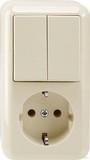 Merten Aufputz Kombination SCHUKO-Steckdose Serienschalter, weiß (MEG3498-8744)