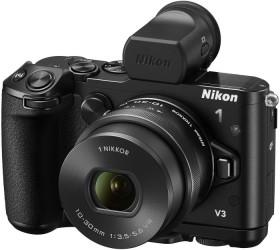 Nikon 1 V3 schwarz mit Objektiv VR 10-30mm 3.5-5.6 PD-Zoom und DF-N1000 Aufstecksucher (VVA231K002)