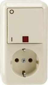 Merten Aufputz Kombination SCHUKO-Steckdose Aus-Kontrollschalter, weiß (MEG3499-8744)