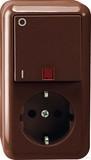 Merten Aufputz Kombination SCHUKO-Steckdose Aus-Kontrollschalter, braun (MEG3499-8717)