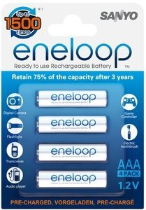 Sanyo eneloop Micro AAA NiMH rechargeable battery 800mAh, 4-pack (HR-4UTG-4BP)