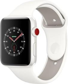 Apple Watch Edition Series 3 (GPS + Cellular) Keramik 42mm weiß mit Sportarmband weiß/kieselgrau (MQM52ZD/A)