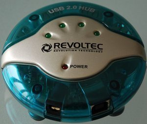 Revoltec USB-Hub UFO-Design blau, USB 2.0 (RZ018) -- provided by bepixelung.org - see http://bepixelung.org/9461 for copyright and usage information
