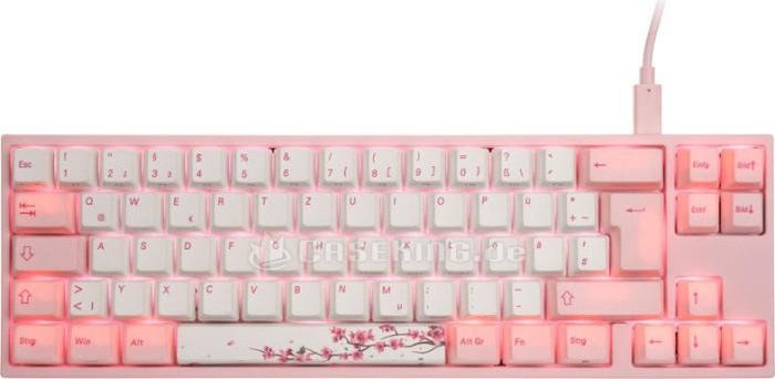Ducky Miya Pro Sakura Edition PBT rosa, LEDs pink, MX-Blue, USB, DE (MY69NC1P/DP88G) -- © caseking.de