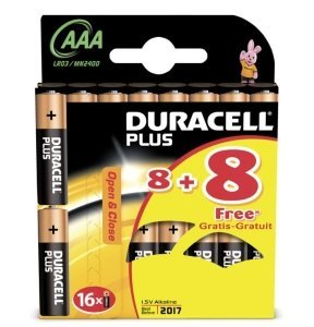 Duracell Plus Micro AAA LR03, alkali, 1.5V, 16-pack