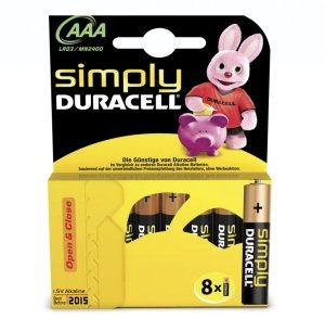 Duracell Simply Micro AAA LR03, Alkali, 1.5V,  8er-Pack