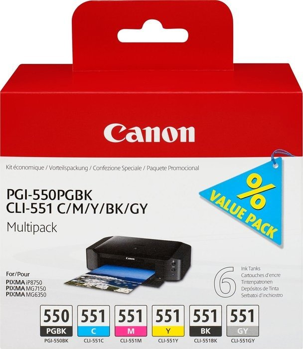 Canon ink PGI-550PGBK/CLI-551 multipack black/tricolour with grey (6496B005)