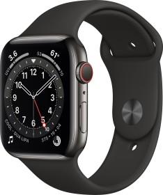 Bild Apple Watch Series 6 (GPS + Cellular) 44mm Edelstahl graphit mit Sportarmband schwarz (M09H3FD)