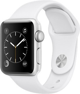 Apple Watch Series 2 Aluminium 38mm silber mit Sportarmband weiß