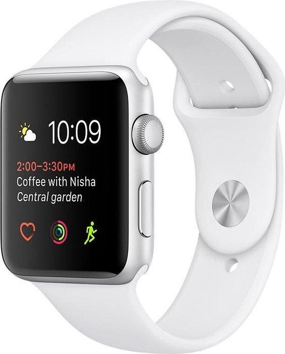 Apple Watch Series 2 Aluminium 42mm silber mit Sportarmband weiß