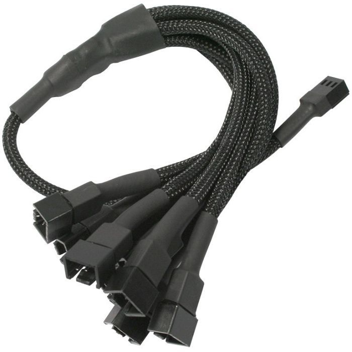 Nanoxia 4-Pin-molex on 9x 3-Pin-Fan 60cm, sleeved black