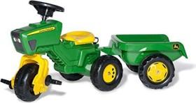 rolly toys rollyTrac John Deere Dreirad mit Soundlenkrad und Anhänger grün (052769)