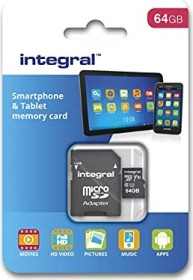 Integral Smartphone and Tablet R90 microSDXC 64GB Kit, UHS-I U1, Class 10 (INMSDX64G10-90SPTAB)