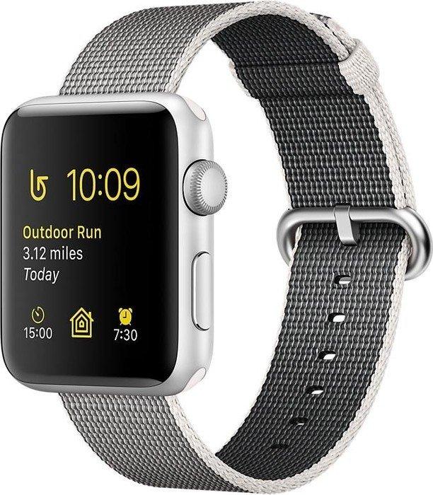 Apple Watch Series 2 Aluminium 42mm silber mit Nylon-Armband perlgrau