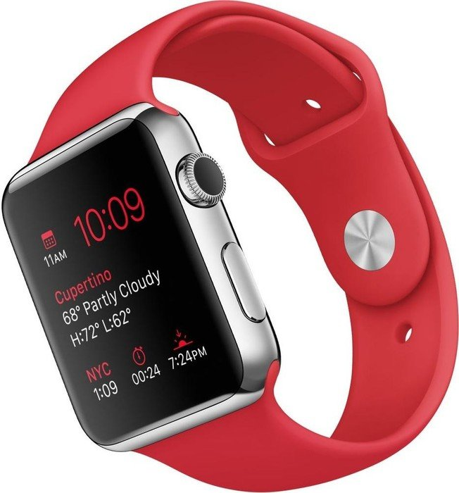 Apple Watch Series 1 42mm mit Sportarmband silber/rot (MLLE2FD)
