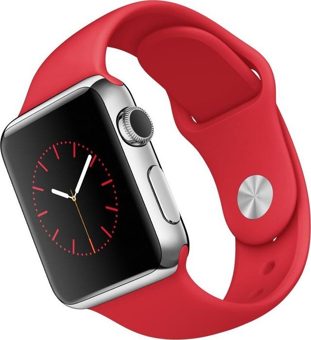 Apple Watch Series 1 38mm mit Sportarmband silber/rot (MLLD2FD)