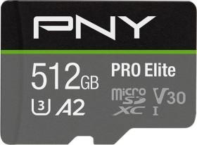 PNY Pro Elite R100/W90 microSDXC 512GB Kit, UHS-I U3, A2, Class 10 (P-SDUX512U3100PRO-GE)