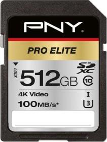 PNY Pro Elite R100/W90 SDXC 512GB, UHS-I U3, Class 10 (P-SD512U3100PRO-GE)