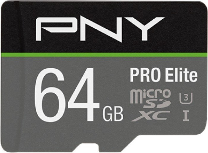 PNY Pro Elite R100/W90 microSDXC 64GB Kit, UHS-I U3 A1, Class 10 (P-SDU64GV31100PRO-GE)
