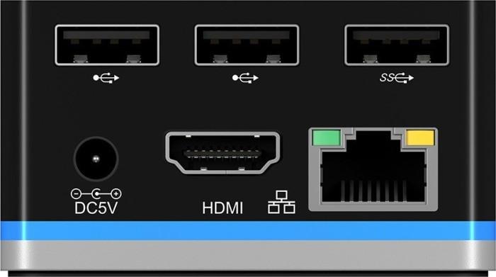 RaidSonic Icy Box IB-DK2101-C USB-C 3.0 auf HDMI/Gb LAN Multiport Adapter, schwarz (60280)
