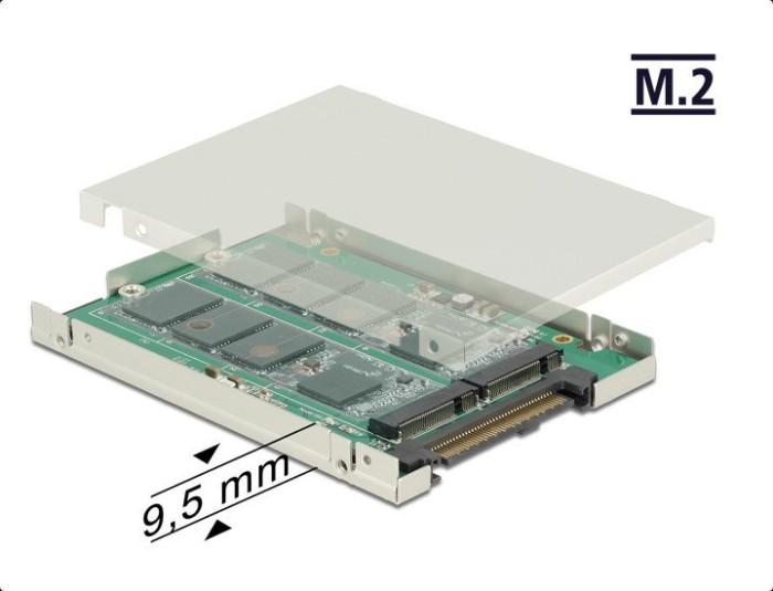 """DeLOCK 2.5"""" Converter SATA Express > 2 x M.2 with Enclosure 9.5mm (62785)"""
