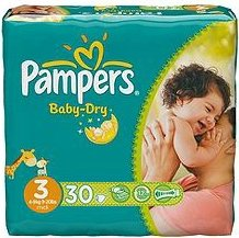 Pampers Baby-Dry Gr.3 Einwegwindel, 4-9kg, 30 Stück