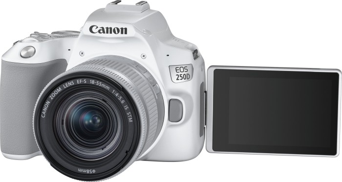 Canon EOS 250D white with lens EF-S 18-55mm 4.0-5.6 IS STM