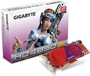 Gigabyte Radeon HD 4850,  512MB DDR3, 2x DVI, TV-out (GV-R485-512H-B)