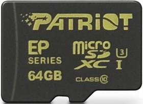 Patriot EP R90/W45 microSDXC 64GB Kit, UHS-I, Class 10 (PEF64GEMCSXC10)