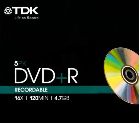 TDK DVD+R 4.7GB 16x, 5-pack Slimcase (T19446)